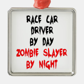 Zombie Slayer Race Car Driver Silver-Colored Square Decoration
