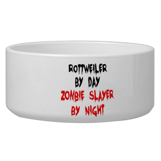 Zombie Slayer Rottweiler Dog Pet Water Bowls