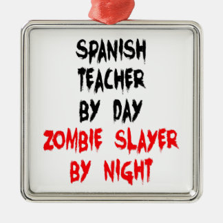 Zombie Slayer Spanish Teacher Christmas Ornament