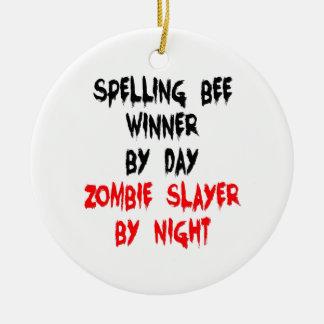 Zombie Slayer Spelling Bee Winner Christmas Ornament