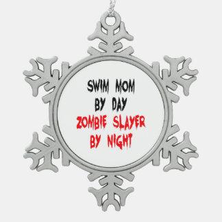 Zombie Slayer Swim Mom Snowflake Pewter Christmas Ornament