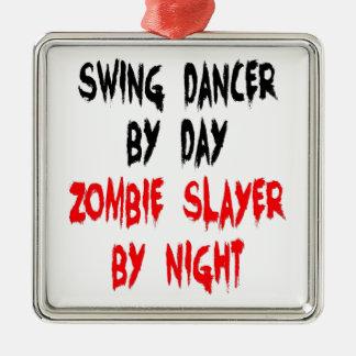 Zombie Slayer Swing Dancer Silver-Colored Square Decoration