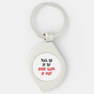 Zombie Slayer Track Dad Silver-Colored Swirl Key Ring