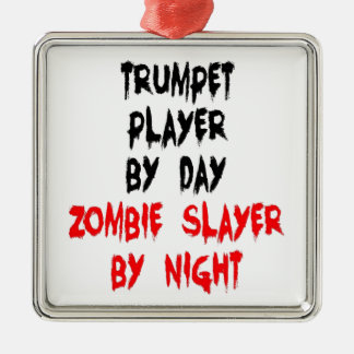 Zombie Slayer Trumpet Player Silver-Colored Square Decoration