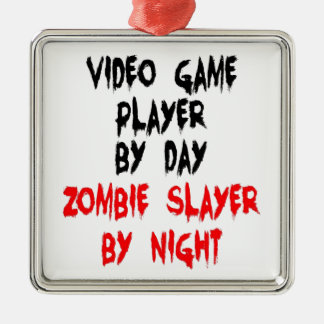 Zombie Slayer Video Game Player Silver-Colored Square Decoration