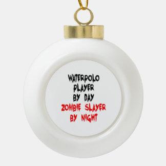 Zombie Slayer Waterpolo Player Ceramic Ball Christmas Ornament