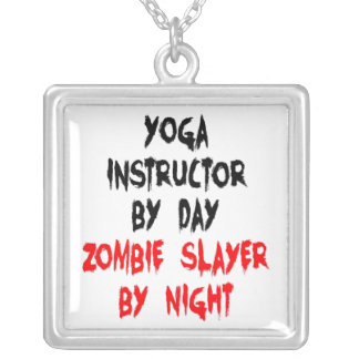 Zombie Slayer Yoga Instructor Silver Plated Necklace