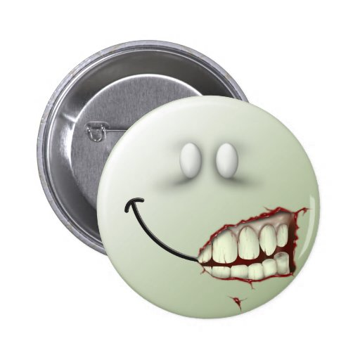 Zombie Smiley Face 6 Cm Round Badge