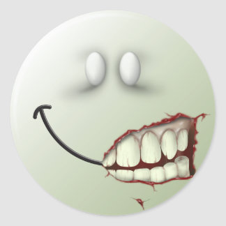 Zombie Smiley Face Sticker
