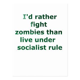 zombie socialism postcard