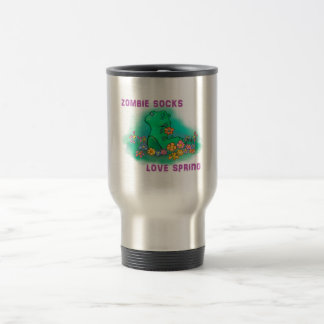 Zombie socks love spring stainless steel travel mug