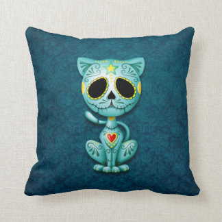 Zombie Sugar Kitten, blue Cushion