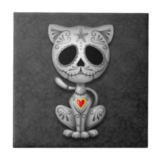 Zombie Sugar Kitten, dark Small Square Tile