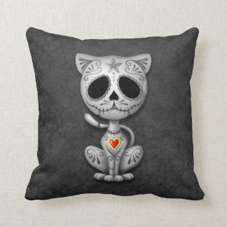 Zombie Sugar Kitten, dark Throw Pillow