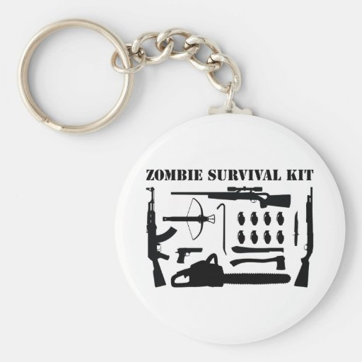 Zombie Survival Kit Basic Round Button Key Ring
