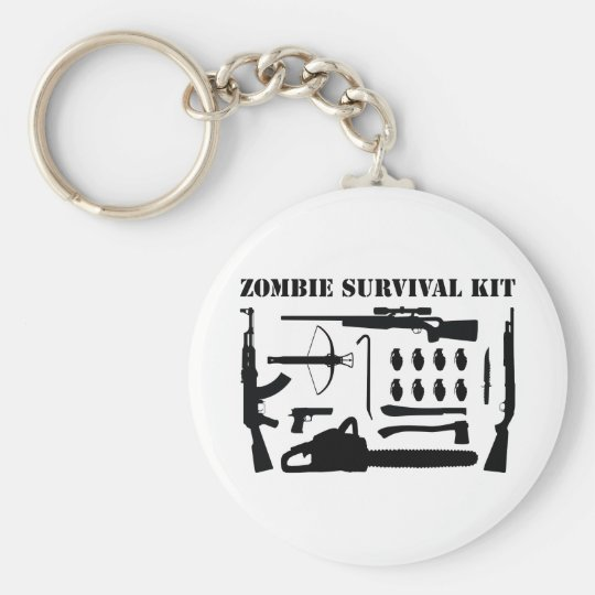 Zombie Survival Kit Basic Round Button Key Ring