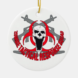 Zombie tactical red christmas ornament