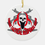 Zombie tactical red round ceramic decoration