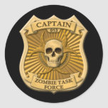 Zombie Task Force - Captain Badge Round Stickers