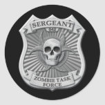 Zombie Task Force - Sergeant Badge Round Stickers