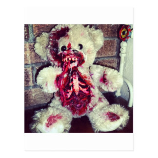 zombie teddy bear postcard