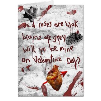 zombie valentine peom card