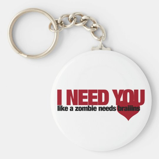 Zombie Valentines Day Basic Round Button Key Ring