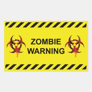 Zombie Warning Rectangular Sticker