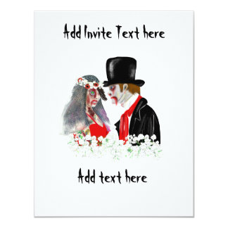 Zombie wedding bride and groom personalized card