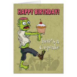 Zombie birthday cards invitations zazzle zombie with a cupcake funny birthday card bookmarktalkfo Images