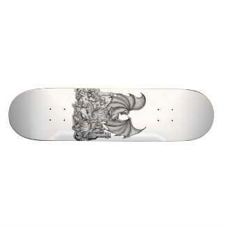 Zombie with dragon pencil drawing skateboard deck