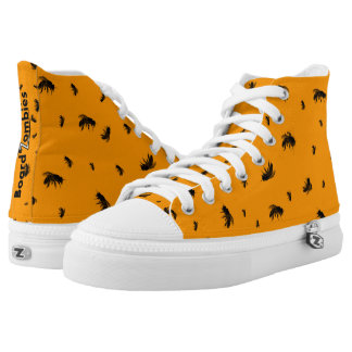Zombie Zom Bees Pattern Orange High Tops Printed Shoes