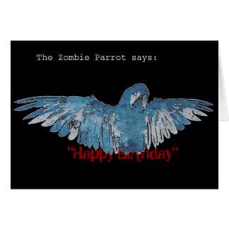 ZombieParrot Happy Birthday Card blue black