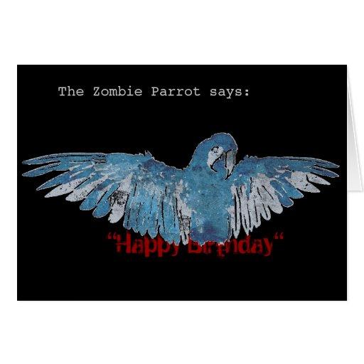"ZombieParrot ""Happy Birthday"" Card (blue/black)"