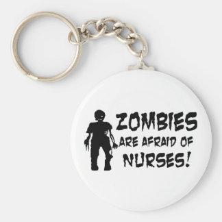 Zombies Are Afraid of Nurses Basic Round Button Key Ring