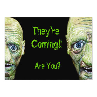 Zombies Are Coming Scary Halloween Double Sided 13 Cm X 18 Cm Invitation Card