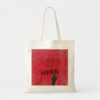 Zombies Are Here Blood Splattered Newspaper Budget Tote Bag