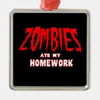 Zombies Ate My Homework Christmas Ornament