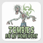 Zombies Ate My Homework Square Stickers