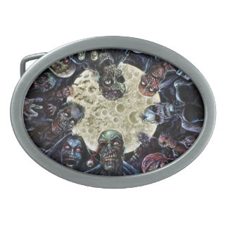 Zombies Attack (Zombie Horde) Oval Belt Buckle