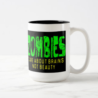 ZOMBIES CARE ABOUT BRAINS Two-Tone MUG