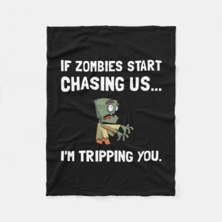 Zombies Chase Us Tripping Fleece Blanket
