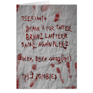 zombies christmas wish greeting card
