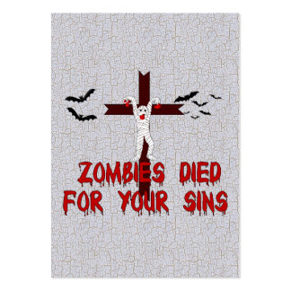 Zombies Died For Your Sins Pack Of Chubby Business Cards