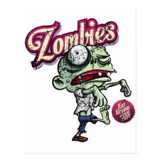 Zombies eat Brains Postcard