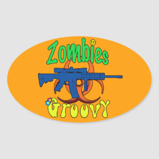 Zombies Groovy Oval Stickers