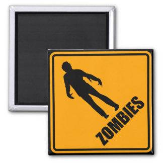 Zombies Icon Yellow Diamond Warning Road Sign Refrigerator Magnets