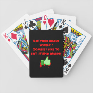 Zombies like stupid brains bicycle playing cards