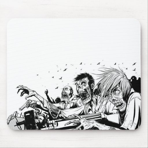 Zombies with Guns Mouse Mat