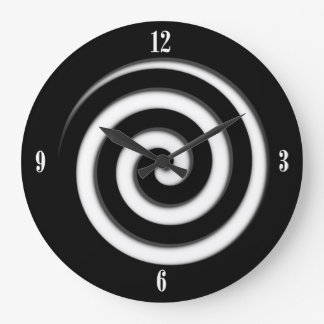 Zone Out Black Spiral Hypno Four Number Wall Clock